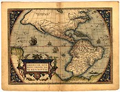 Map of the New World, in the 1570 edition of the Ortelius Atlas (Theatrum Orbis Terrarum). Abraham Ortelius (1527-1598) was a Flemish mapmaker who is ...