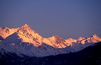 sunset on vallese mountains, crans montana, switzerland