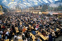 inside beer stands, munich oktoberfest, germany