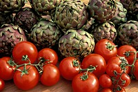 artichokes and tomatoes, verona, italy