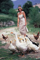 woman with hat, geese, outdoors