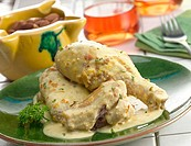 Pollo en pepitoria (Fricassee Chicken in Saffron and Almond Sauce)
