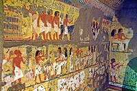 Painted tomb in the Egyptian Museum of Torino. Italy