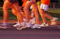 Hawaii, Oahu, Honolulu, Feet and legs running, Honolulu Marathon