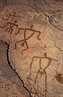 Hawaii, Big Island, South Kohala, Hawaiian petroglyphs, Anaeho´omalu,