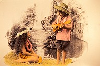 Boy plays ukulele to girl sitting down in front of waterfall