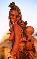 Himba wife with baby. Kaokoveld. Namibia