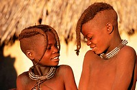 Two himba boys. Kaokoveld. Namibia
