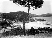 Vintage photograph. Coast of Mallorca (Majorca), Balearic Islands. Spain
