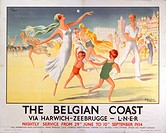 Poster produced for London & North Eastern Railway (LNER) to promote its services between Harwich and Zeebrugge, Belgium. LNER offered a nightly servi...
