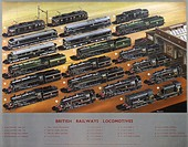 Poster produced for British Railways (BR), showing illustrations of 21 examples of the company's locomotives, with information regarding each one deta...