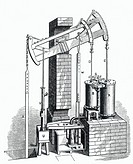 Drawing from 'History of the Growth of the Steam engine' by R H Thurston. Jonathan Hornblower (1753-1815) patented an early form of compound steam eng...