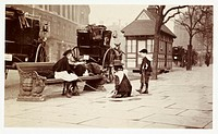 A snapshot photograph of children playing beside a Hansom cab rank in London, taken by an unknown photographer in about 1900.  Originally a shooting t...
