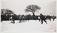 A snapshot photograph of an ice hockey game played on an outdoor rink or frozen pond, taken by an unknown photographer in about 1925.  Originally a sh...
