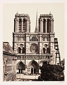 A photograph of Notre Dame, Paris, taken by Edouard-Denis Baldus (1813-1882) in about 1865. This photograph captures the main facade of the cathedral....