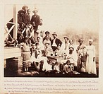 A group photograph of French engineers employed in the construction of the Panama Canal, pictured together with their families and domestic servants, ...