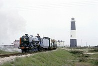 Photograph taken during the British Transport Films production ´Romney Marsh´ made in 1966, showing the Romney, Hythe and Dymchurch Railway. The ´Worl...