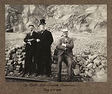 A photograph of Sir John Benjamin Stone (1838-1914), (centre), and two colleagues at Cliffe Hill Quarries in Leicestershire, probably taken by a fello...