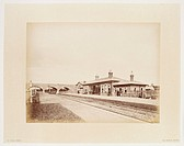Platforms at Market Bosworth Station, Leicestershire, by R Keene about 1875.  This station was on the Ashby & Nuneaton Joint Railway which opened in 1...