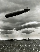 'Boy Scouts anchor Graf Zeppelin - scene at Hanworth Air Park this evening when the Graf Zeppelin arrived from Germany with a party of 'trippers'. She...