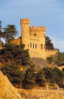 Castell d'en Plaja, mansion in evening light. Lloret de Mar. Costa Brava, La Selva. Girona province, Spain