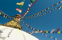 Coloured prayer flags leading to the top of Svayambunath called Monkey Temple, Kathmandu, Nepal