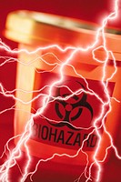 Composite of lightning bolts and biohazard container