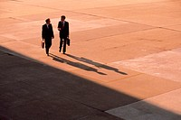 Businessmen walking in distance, overhead view