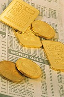 Gold pieces on top of stock listing