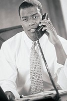 Business professional talking on telephone