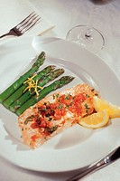 Salmon and asparagus, overhead view