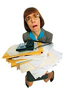 Businesswoman character holding stack of paperwork and telephone
