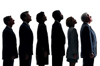 Businesspeople in line looking up, silhouette