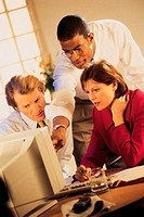 Group of people looking at computer monitor