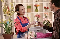 Florist with customer