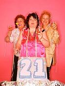 Senior women celebrating birthday