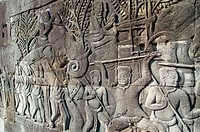 Extensive carvings. Bayon temple. Temples of Angkor. Siem Reap area. Kingdom of Cambodia.