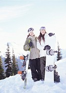 Two Young Women Standing in the Snow Holding Snowboards