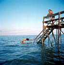 Diving of Pier at Lake Winnipeg Whytwold Manitoba