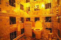 Gold, rubies, pearls, sapphires and emeralds bathroom. Hang Fung Gold Technology group. Guinness Book of Records most expensive bathroom. Hong Kong. C...