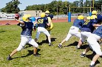 High School football practice action