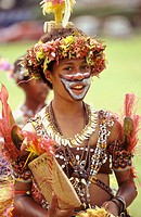 Girl, aged 13-15, in traditional dress. Goroka show. Papua New Guinea.