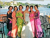 Cruise on the Guadalquivir river with a Chinese wedding. City of Sevilla. Andalucia. Spain