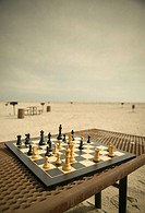 Still life of a chess board on a table by the Atlantic Ocean Jones Beach Long Island New York State USA