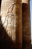The temple of Isis on the island Philae in the river Nile. Both Horus and Isis are shown on the two columns. Aswan, Egypt