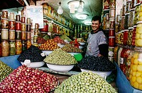 Medina olive seller. Marrakech. Morocco.
