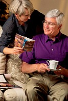 Senior woman showing an elderly man a book