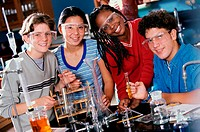 Portrait of teenagers at a chemistry laboratory