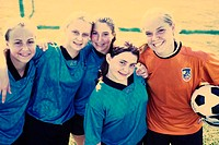 Portrait of a group of teenage girls in a soccer team