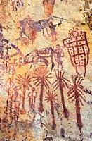 Prehistoric cave paintings at Adrar Akakus region. Sahara desert. Libya. Africa.